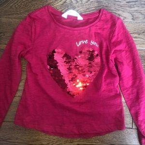 Two way sequin heart long sleeve shirt